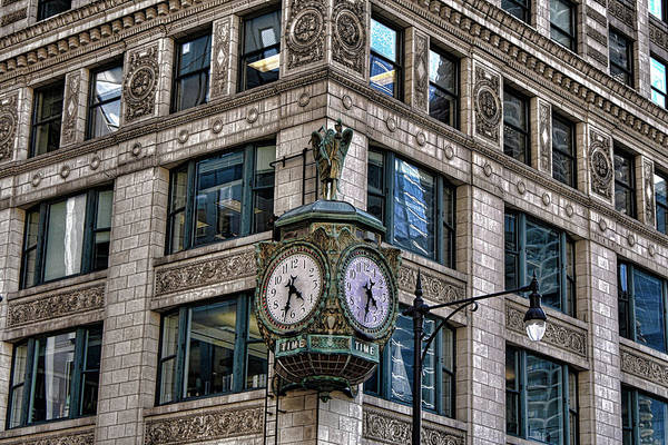 Wall Art - Photograph - Downtown Chicago Clock by Selena Wagner