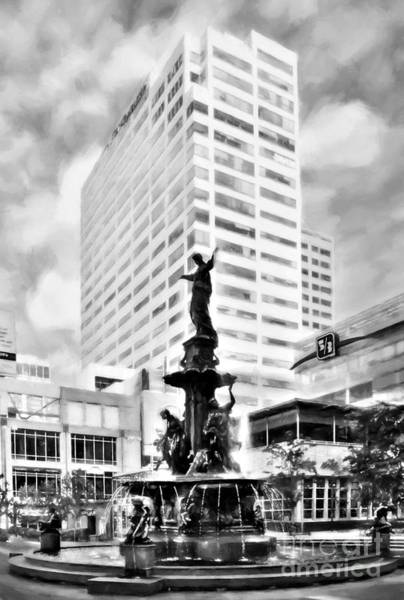 Photograph - Downtown Cincinnati At Fountain Square Black And White by Mel Steinhauer