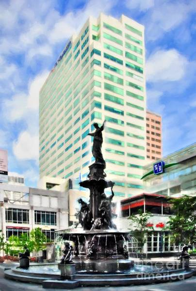 Photograph - Downtown Cincinnati At Fountain Square by Mel Steinhauer