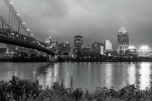 Ohio Stadium Wall Art - Photograph - Downtown City Skyline Of Cincinnati Ohio - Usa - Black And White by Gregory Ballos