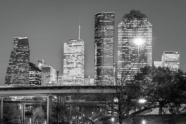 Photograph - Downtown City Skyline Of Houston Texas - Black White by Gregory Ballos
