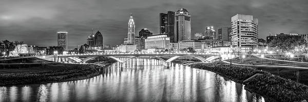 Photograph - Downtown Columbus Ohio Skyline Panorama At Night - Black And White by Gregory Ballos