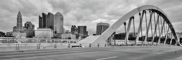Wall Art - Photograph - Downtown Columbus Skyline Panorama - Black And White by Gregory Ballos