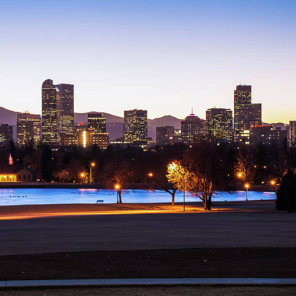 Square Mile Wall Art - Photograph - Downtown Denver Colorado Skyline Color 1x1  by Gregory Ballos