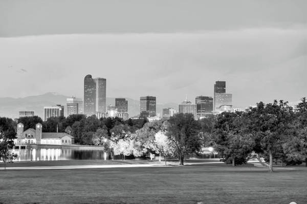 Photograph - Downtown Denver Skyline - Black And White by Gregory Ballos