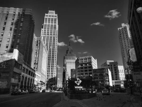 Photograph - Downtown Detroit 003 Bw by Lance Vaughn