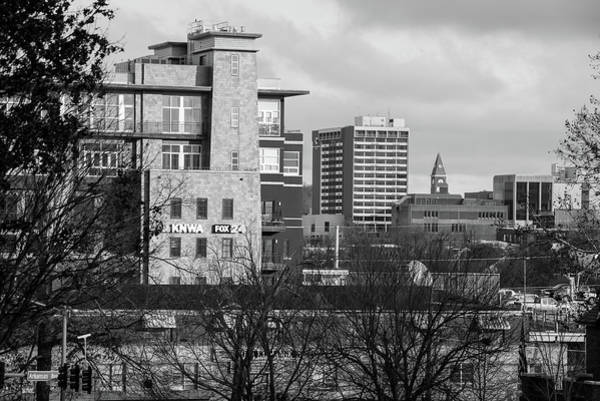 Fayetteville Photograph - Downtown Fayetteville Arkansas Skyline - Dickson Street - Black And White Edition. by Gregory Ballos