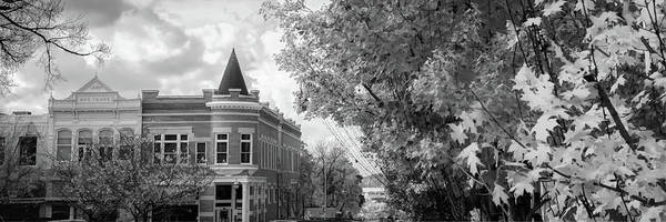 Photograph - Downtown Fayetteville Arkansas Skyline Panorama - Black And White by Gregory Ballos