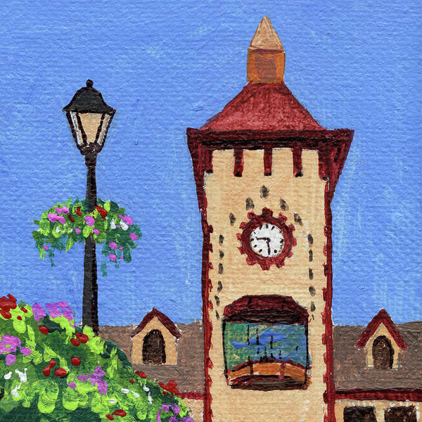 Clock Painting - Downtown Frankenmuth Michigan Impressionistic Landscape Xxxx by Irina Sztukowski