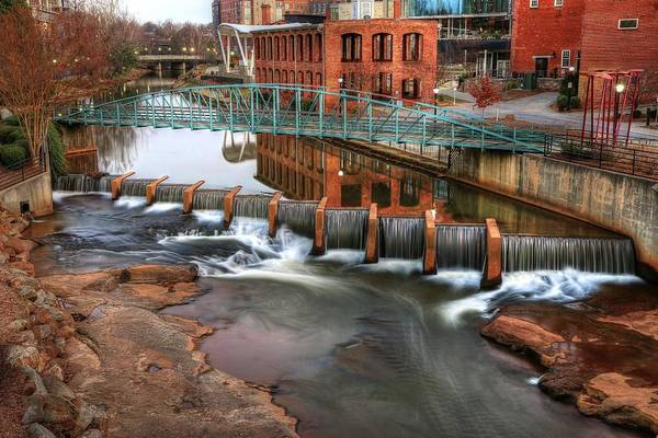 Photograph - Downtown Greenville On The River Winter by Carol Montoya