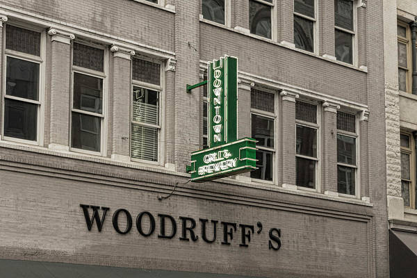 Photograph - Downtown Grill And Brewery Sign by Sharon Popek