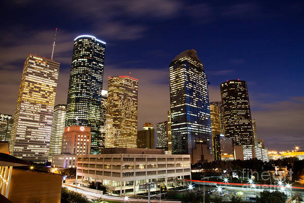 Olivier Photograph - Downtown Houston At Night by Olivier Steiner