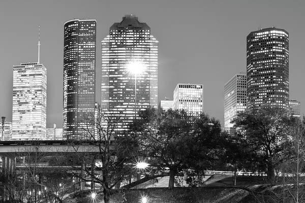 Photograph - Downtown Houston City Skyline - Black And White by Gregory Ballos