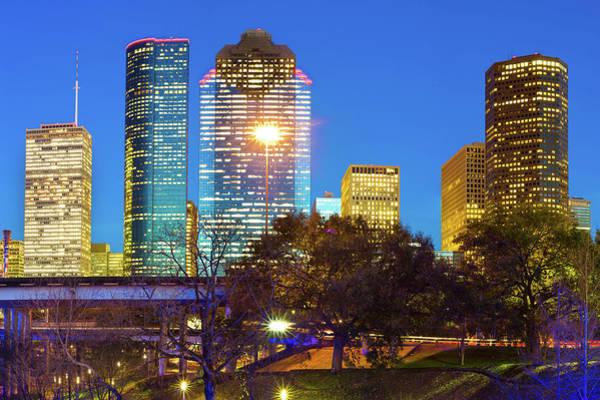 Photograph - Downtown Houston City Skyline - Vibrant Lights by Gregory Ballos