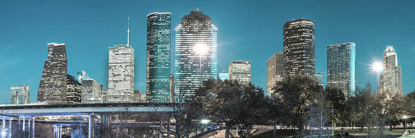 Photograph - Downtown Houston Panoramic Skyline - Beautiful Blues by Gregory Ballos