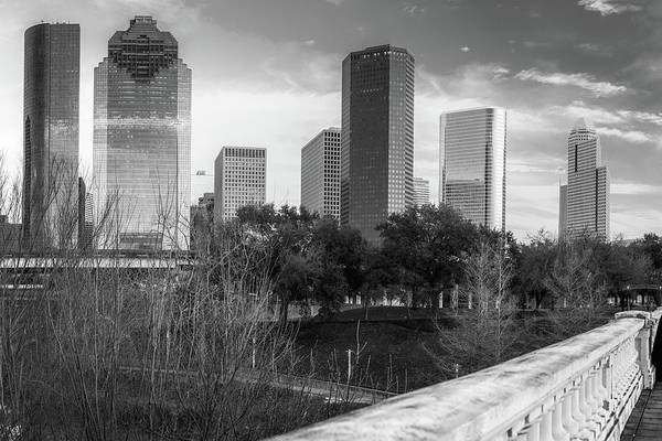 Photograph - Downtown Houston Texas City Skyline - Black And White by Gregory Ballos