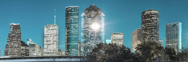 Photograph - Downtown Houston Texas Panoramic Skyline - Beautiful Blues by Gregory Ballos