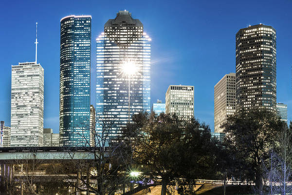 Photograph - Downtown Houston Texas Skyline And Trees by Gregory Ballos