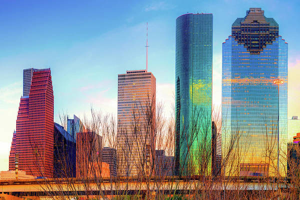 Photograph - Downtown Houston Texas Skyline At Sunset by Gregory Ballos