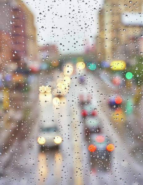 Photograph - Downtown In The Rain by Jim Hughes