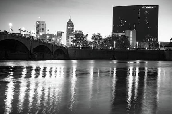 Photograph - Downtown Indianapolis City Skyline - Black And White by Gregory Ballos