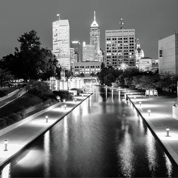 Photograph - Downtown Indy Skyline - Indianapolis Indiana Black-white 1x1 by Gregory Ballos