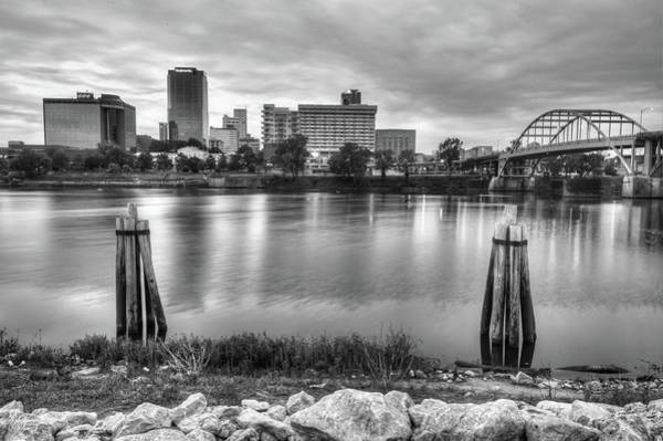 Photograph - Downtown Little Rock Arkansas Skyline On The Water - Black And White by Gregory Ballos
