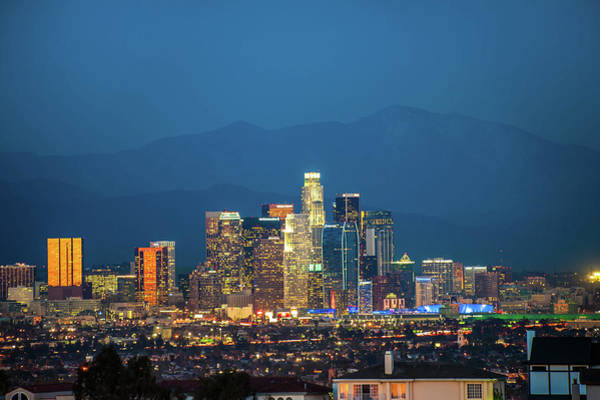 Los Angeles Skyline Photograph - Downtown Los Angeles Skyline At Night by Gregory Ballos