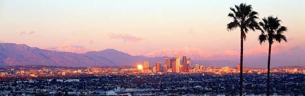 Landforms Photograph - Downtown Los Angeles, Sunset, California by Panoramic Images