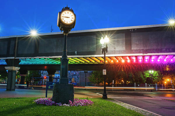 Photograph - Downtown Lynn At Night Lynn Ma Clock Rainbow Bridge by Toby McGuire