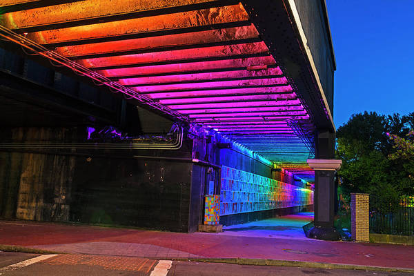 Photograph - Downtown Lynn At Night Lynn Ma Rainbow Bridge by Toby McGuire