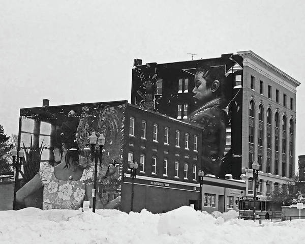 Photograph - Downtown Lynn In The Winter Building Artwork Black And White by Toby McGuire