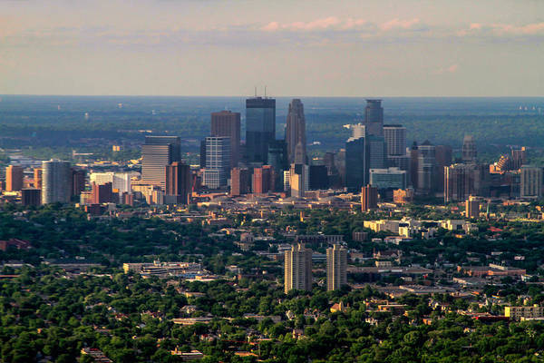 Photograph - Downtown Minneapolis Aerial View by Bonnie Follett