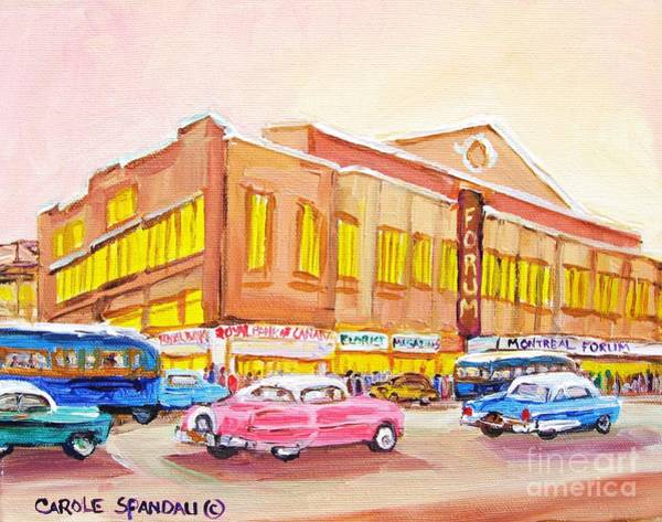 Painting - Downtown Montreal Hockey Forum Vintage Montreal Art  by Carole Spandau