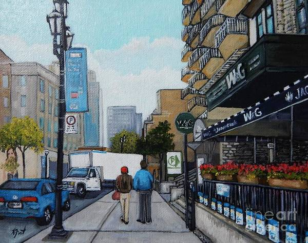 Montreal Street Scene Wall Art - Painting - Downtown Montreal by Reb Frost