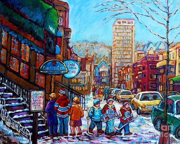 Painting - Downtown Montreal Winter Scene Painting For Sale View Of Mcgill And Mount Royal C Spandau Hockey Art by Carole Spandau