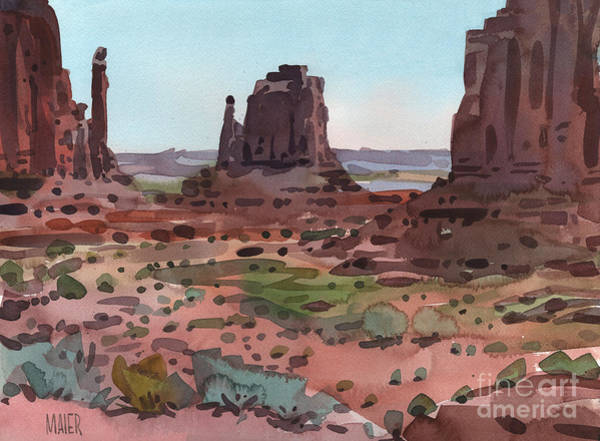 Monument Valley Navajo Tribal Park Wall Art - Painting - Downtown Monument Valley by Donald Maier