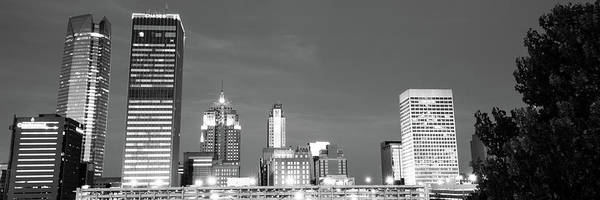 Photograph - Downtown Oklahoma City Skyline Panorama - Black And White by Gregory Ballos
