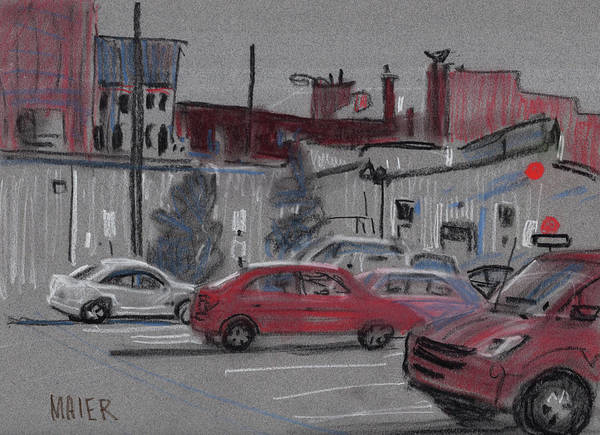 Automobile Drawing - Downtown Parking by Donald Maier