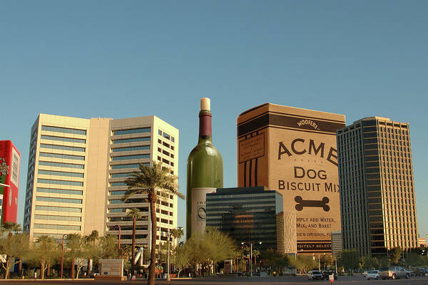 Dog Biscuit Photograph - Downtown Phoenix With Wine And Dog Biscuits by Dave Wilson