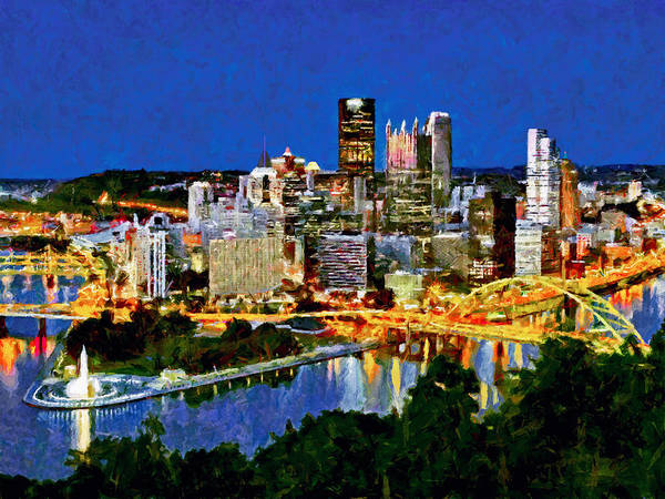 Digital Art - Downtown Pittsburgh At Twilight by Digital Photographic Arts