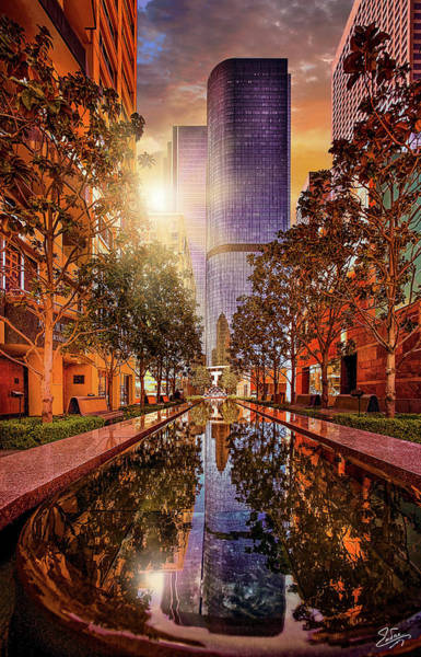 Photograph - Downtown Reflecting Pool At Sunset by Endre Balogh