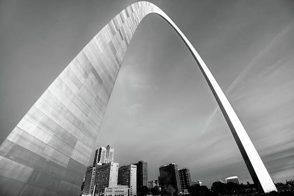 Saint Wall Art - Photograph - Downtown Saint Louis Skyline Under The Arch - Black And White by Gregory Ballos