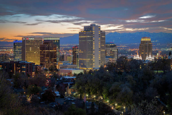 Photograph - Downtown Salt Lake City At Dusk by James Udall