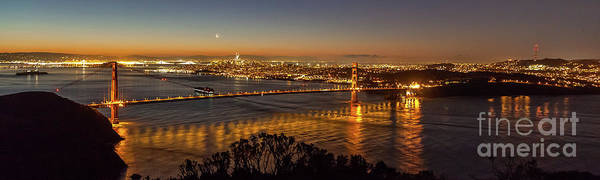 Downtown San Francisco And Golden Gate Bridge Just Before Sunris Art Print