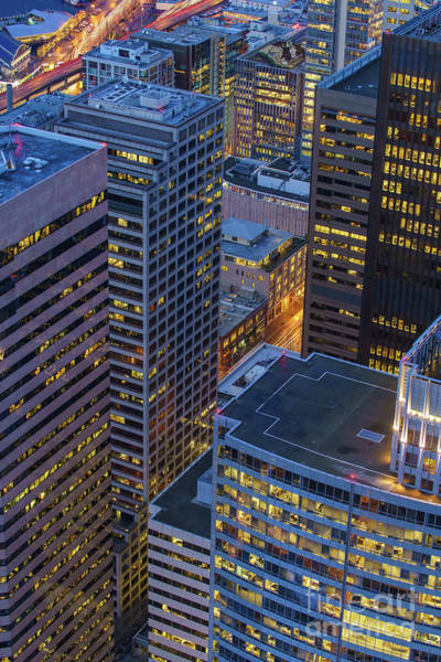 Seattle Skyline Photograph - Downtown Seattle Buildings Details by Mike Reid