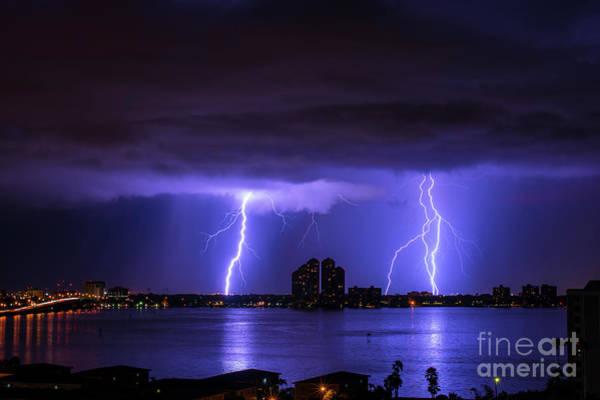 Electric Storm Photograph - Downtown Strikes by Quinn Sedam