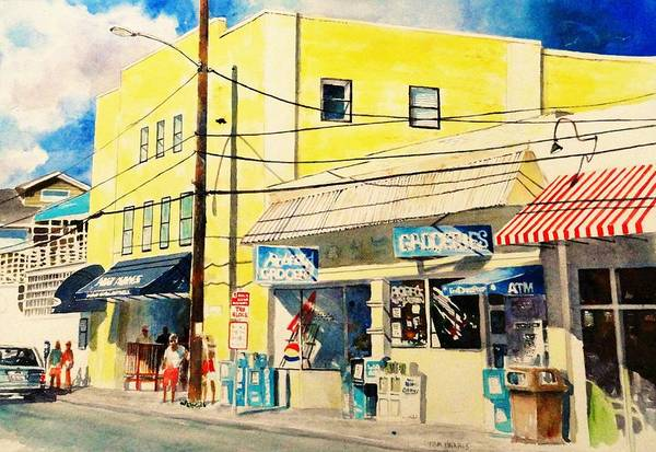 Wrightsville Beach Wall Art - Painting - Downtown Wrightsville Beach by Tom Harris