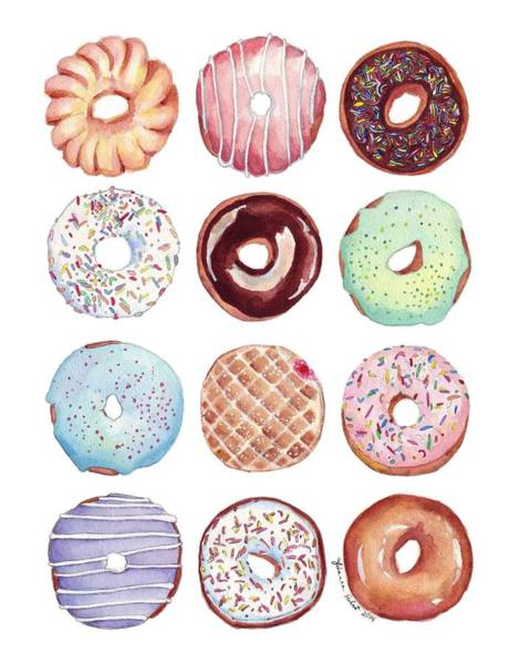 Doughnut Painting - Dozen Donuts Watercolor by Johanna Pabst