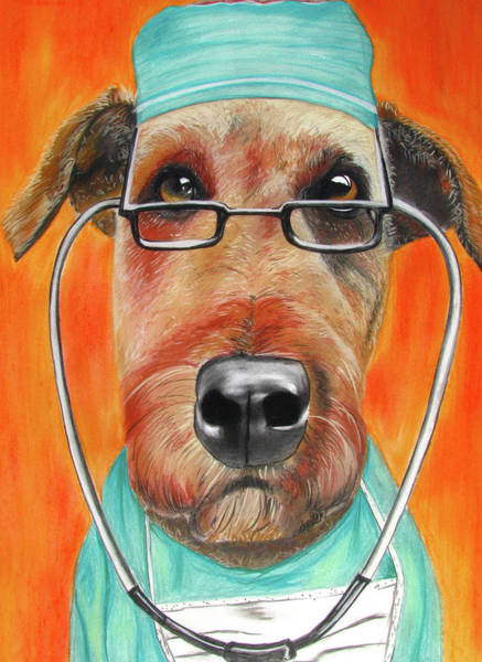 Doctors Office Wall Art - Painting - Dr. Dog by Michelle Hayden-Marsan